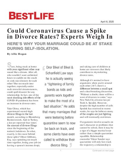 Could Coronavirus Cause a Spike in Divorce Rates? Experts Weigh In