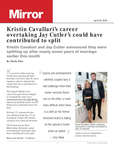 Kristin Cavallari's career overtaking Jay Cutler's could have contributed to split