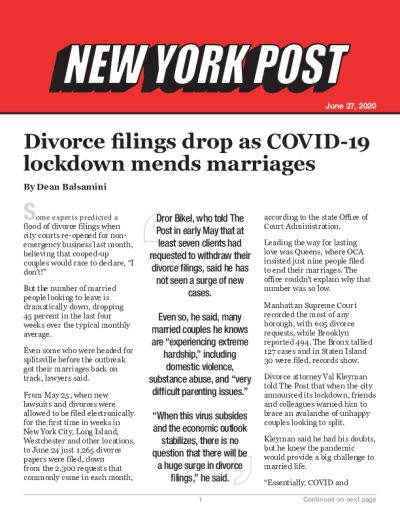 Divorce filings drop as COVID-19 lockdown mends marriages